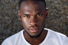 Young african american man with sweat dripping down face Royalty Free Stock Photo