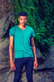 Young African American Man traveling, relaxing at Central Park, Stock Photos