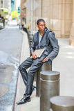 Young African American Man traveling, studying in New York Stock Photography