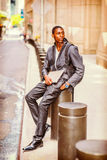 Young African American man traveling, studying in New York Stock Photo