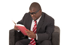 Young African American model in gray business suit red striped  Royalty Free Stock Photography