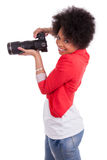 Young african american  photographer with camera Royalty Free Stock Photo