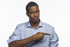 Young African American pointing, horizontal Stock Images