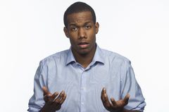 Young African American reacting to negative news, horizontal Royalty Free Stock Photos