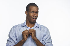Young African American reacts in disgust, horizontal Stock Photography