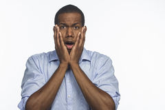 Young African American surprised, horizontal Stock Photos