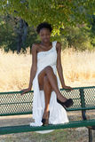 Young African American Teen Girl Outdoor Dress Stock Photography