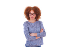 Young african american teenage girl with folded arms, isolated o Royalty Free Stock Image
