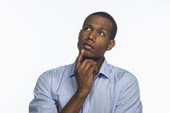 Free Young African American Thinking And Looking Up, Horizontal Royalty Free Stock Images - 34252779