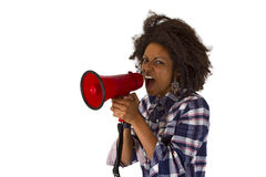 Young african american using megaphone Stock Photos