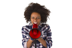 Young African American Using Megaphone Royalty Free Stock Photos