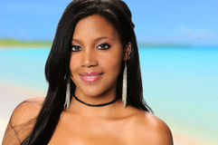 Young African American Woman on the Beach stock image