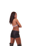 Young African American Woman from behind shorts Royalty Free Stock Image