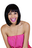 Young African American Woman Big Open Mouth Laugh Stock Photo
