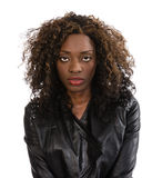 Young African American woman in black jacket Royalty Free Stock Image