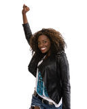 Young African American woman in black jacket Stock Image