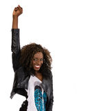 Young African American woman in black jacket Stock Photos