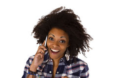 Young african american woman on cellphone Stock Photography