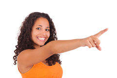 Young african american woman  displaying something Stock Images