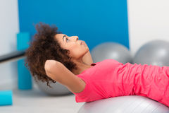 Young African American woman doing Pilates Royalty Free Stock Image