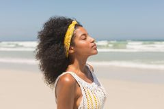 Young African American woman with eyes closed standing on beach. Side view of young African American woman with eyes closed standing on the beach in the sunshine stock image
