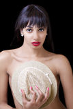 Young African American Woman Hat Over Breasts Stock Photo
