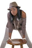 Young African American Woman Hat Sweater Stockings Stock Image