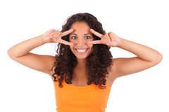 Young african american woman with her fingers over her eye Stock Images