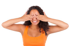Young african american woman with her hands over her eye Royalty Free Stock Images