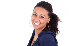 Young African American woman holding her head Stock Image