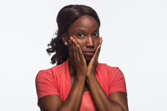 Young African American woman keeps quiet, horizontal Royalty Free Stock Photo