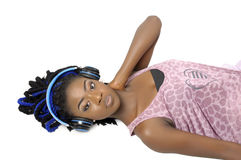 Young African American woman listening to music Royalty Free Stock Photo
