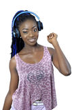 Young African American woman listening to music Stock Photos
