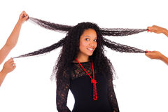 Young african american woman with long hair Stock Photo