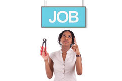 Young african american woman looking for a job Stock Photo