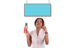 Young african american woman looking to unhook a empty board Stock Photography