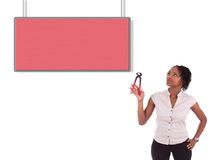 Young african american woman looking to unhook a empty board Stock Photos