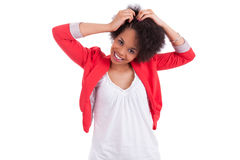 Young african american woman making braids Stock Photo