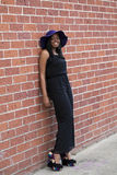 Young African American Woman Pants Suit Outdoors Stock Image