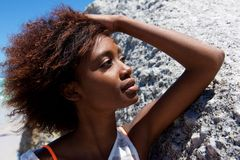 Young african american woman posing outdoors Stock Images