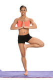 Young African American Woman Practicing Yoga Stock Photo