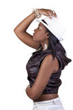 Young African American Woman Profile White Hat Stock Photography