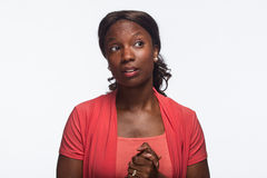 Young African American woman reacting, horizontal Stock Photos