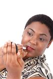 Young African American Woman with Red Lipstick Stock Image