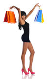 Young African American woman with shopping bags Royalty Free Stock Photo