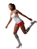 Young African American woman shorts and heels Royalty Free Stock Photo
