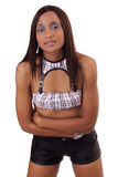 Young African American Woman Shorts on White Stock Images