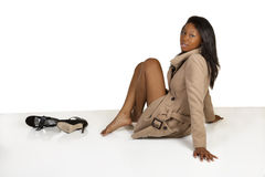 Young African American Woman Sitting On Floor Royalty Free Stock Photo