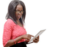 Young african american woman with a tablet Royalty Free Stock Image