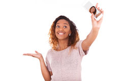 Young African American woman taking a selfie  Stock Photo